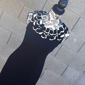 Cache Black & White Sleeveless Dress